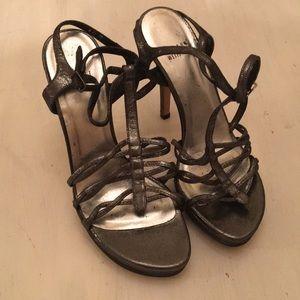 Stuart Weitzman silver strappy heels 6 1/2